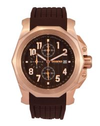 Orefici Watches - Brown Galante Chronograph Watch With Rubber Strap for Men - Lyst