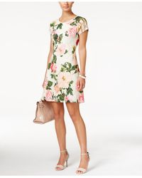 Ronni Nicole | Multicolor Short-sleeve Floral-print Fit & Flare Dress | Lyst