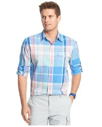 Izod - Blue Lightweight Plaid Pocket Long Sleeve Shirt for Men - Lyst