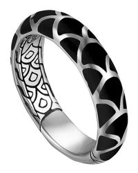 John Hardy - Metallic Naga Silver Band Ring With Black Enamel - Lyst