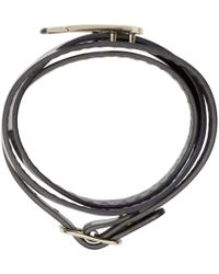 McQ | Blue Navy Leather Wrap Swallow Bracelet | Lyst