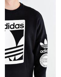 Adidas - White Originals Box Trefoil Graphic Sweatshirt for Men - Lyst