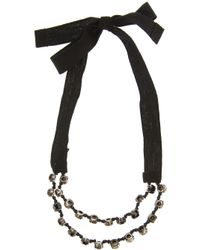 Ann Demeulemeester Blanche - Black Crystal and Ribbon Bracelet - Lyst