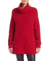 Vince - Red Front Pocket Cashmere Turtleneck Sweater - Lyst
