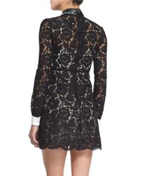 Valentino - Black Long-sleeve Shirt-cuff Lace Dress - Lyst