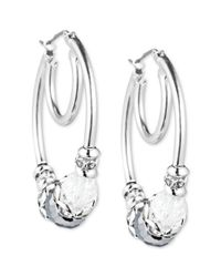 Nine West | Metallic Silvertone White Beaded Hoop Earrings | Lyst