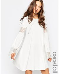 ASOS | White Tall Boho Swing Dress With Long Sleeve And Lace Inserts | Lyst