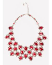 Bebe - Red Ornate Crystal Bib Necklace - Lyst