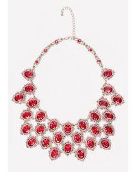Bebe | Red Ornate Crystal Bib Necklace | Lyst