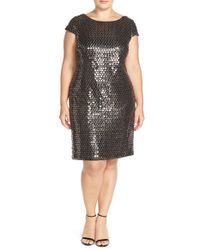 Adrianna Papell - Black Sequin Cap Sleeve Shift Dress - Lyst