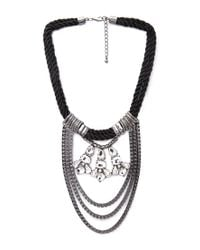 Forever 21 | Black Pretty Tough Draped Chain Necklace | Lyst
