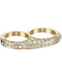 Guess | Metallic Two Finger Pave Ring | Lyst