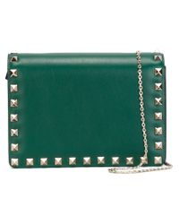 Valentino - Green Rockstud Leather Cross-Body Bag  - Lyst