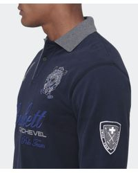 Hackett | Blue Tailored Fit Long Sleeve Snow Polo Shirt for Men | Lyst