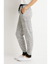 Forever 21 | Black Heathered Drawstring Joggers | Lyst