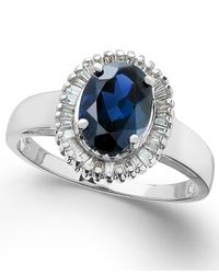Macy's - Metallic Sapphire (1-5/8 Ct. T.w.) And Diamond (1/3 Ct. T.w.) Ring In 14k White Gold - Lyst
