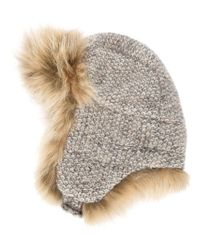 Inverni - Gray Coyote Fur Bouclé Trapper Hat - Lyst