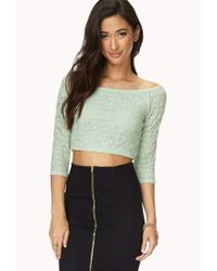 Forever 21 | Green Be Seen Open-Knit Crop Top | Lyst