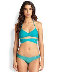 Tori Praver Swimwear | Green Jasmine Wrap-front Halter Bikini Top | Lyst