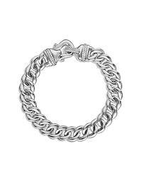 David Yurman - Metallic Buckle Single-row Bracelet With Diamonds, 10mm - Lyst