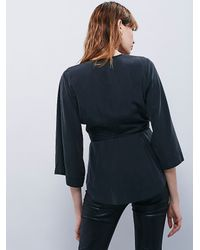 Free People | Black Womens Deep V Wrap Top | Lyst