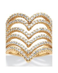 Palmbeach Jewelry - Metallic 1.26 Tcw Round Cubic Zirconia Multi-row Chevron Ring In 14k Yellow Gold Over .925 Sterling Silver - Lyst