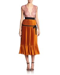 TOME | Brown Lace & Pleated Satin Gown | Lyst