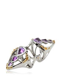 Katie Rowland - Metallic Circe Deco Knuckle Amethyst Ring - Lyst