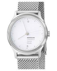 Mondaine - Metallic 'helvetica No.1 Light' Round Mesh Strap Watch - Lyst