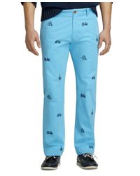 Brooks Brothers - Blue Bicycle Embroidered Garment-dyed Chinos for Men - Lyst