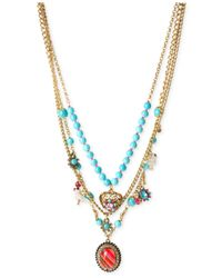 Betsey Johnson | Multicolor Gold-tone Semi-precious Turquoise Bead Multi-charm Necklace | Lyst