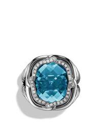 David Yurman - Metallic Labyrinth Ring With Blue Topaz And Diamonds - Lyst