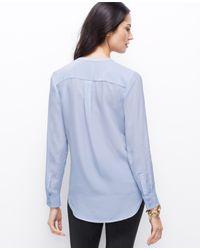 Ann Taylor - Blue Split Neck Silk Tunic - Lyst