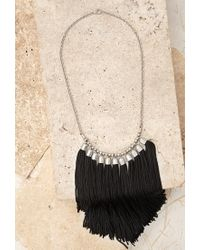 Forever 21 | Black Tassel Fringe Necklace | Lyst
