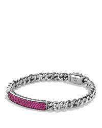 David Yurman | Metallic Petite Pavé Id Bracelet With Pink Sapphires | Lyst