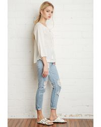 Forever 21 - Natural Embroidered Peasant Blouse - Lyst