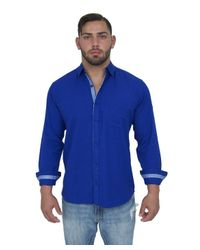 Giorgio Bellini - Blue Lyon Linen Blend Button Front Shirt for Men - Lyst