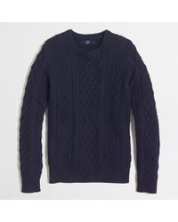 J.Crew - Blue Factory Fisherman Cable Crewneck Sweater for Men - Lyst