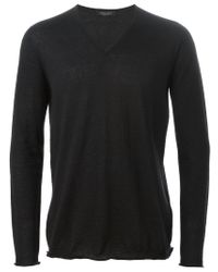 Roberto Collina - Black V Neck Sweater for Men - Lyst