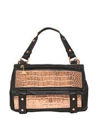 Golden Lane - Metallic Small Duo Crocodile Print Leather - Lyst