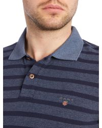 GANT | Blue Breton Stripe Pique Polo for Men | Lyst