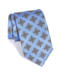 JZ Richards - Blue Medallion Print Silk Tie for Men - Lyst
