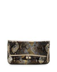 Elaine Turner - Brown Hazel Foil Pythonpattern Leather Clutch - Lyst