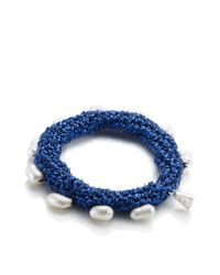 Lucy Folk | Deep Blue Crochet Pearly Bracelet | Lyst