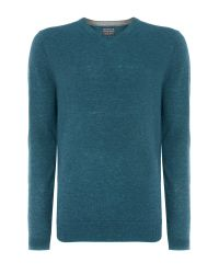 Howick - Green Arlington V-neck 100% Lambswool Jumper for Men - Lyst