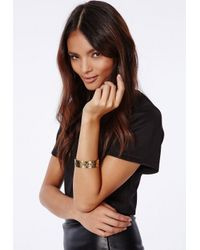 Missguided | Metallic Amera Engraved Emoji Cuff Gold | Lyst