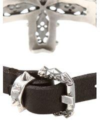 Emanuele Bicocchi - Metallic Silver Cross Leather Bracelet for Men - Lyst