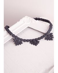 Missguided | Matte Casted Necklace Black | Lyst