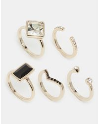Oasis | Metallic Deco & Pave Multi Stacking Rings | Lyst