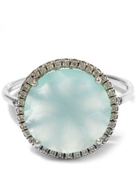 Suzanne Kalan - Metallic White Gold Chalcedony Centre Ring - Lyst